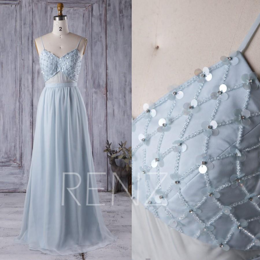 Wedding - 2016 Baby Blue Bridesmaid Dress, Backless Long Chiffon Wedding Dress with Sequin Beading, Spaghetti Straps Prom Dress Floor Length (L046)