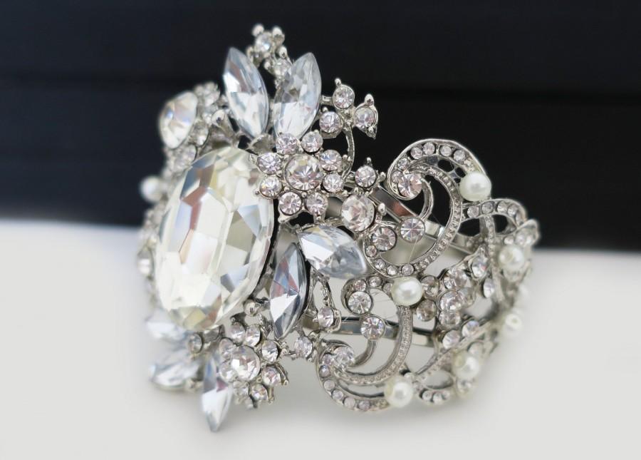 Bridal Cuff Bracelet Wedding Bracelet Crystal Pearl Cuff Bridal
