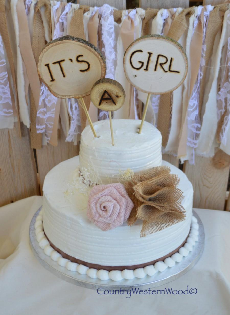Свадьба - Rustic Cake Topper, Baby Shower Cake Topper, Burlap Cake Topper, Wood Cake Topper, It's A Girl Cake Topper, Rustic Baby Shower