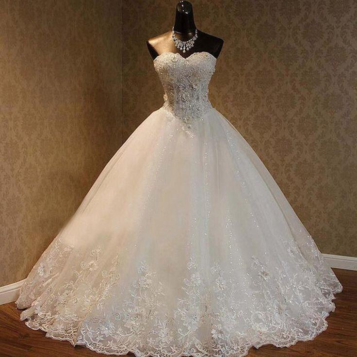 Luxury Sweetheart Rhinestone Beaded White Lace Wedding Dresses ...