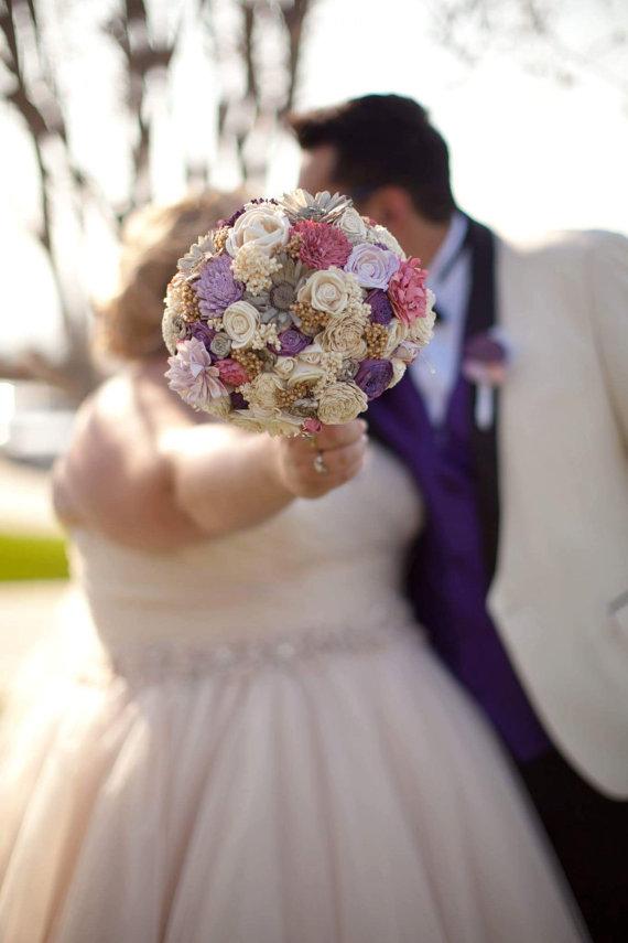 Large Pink Purple Pale Lavender Cream Brown Rustic Wedding BOUQUET ...
