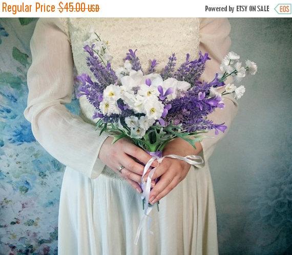Hochzeit - READY TO SHIP Lavender white wedding bouquet fake flowers, magnolia, matthiola, purple, lilac, satin ribbon, custom bouquet, small purple