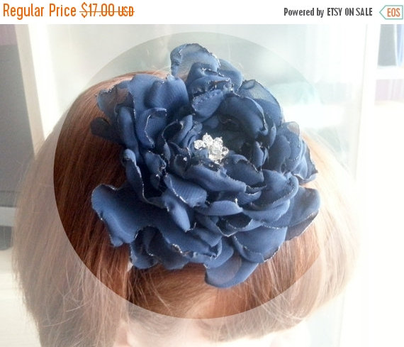 Wedding - Headband Navy blue chiffon flower, bridesmaid Corsage hand made silk flower vintage brooch
