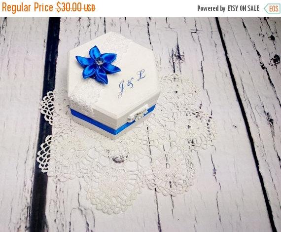 Wedding - Wedding rings box, wedding pillow elegant white blue cotton lace satin ribbon flower shabby chic cream lace sola flower rings box customised