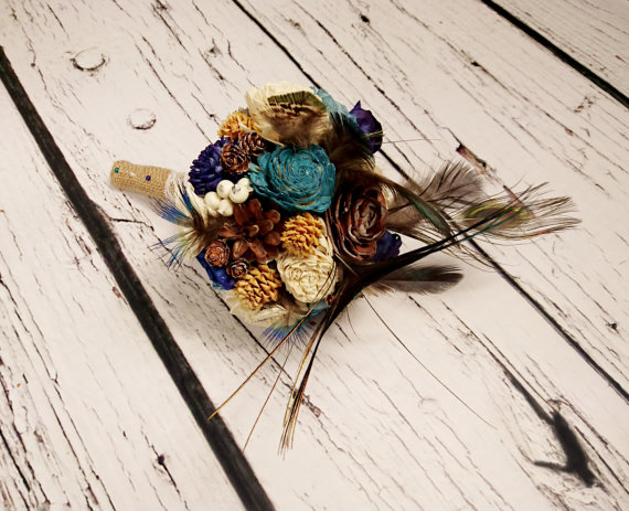 Hochzeit - Bridesmaid toss cream brown dark blue turquoise rustic wedding real PEACOCK feathers BOUQUET Burlap Handle cotton lace pine cones cedar rose