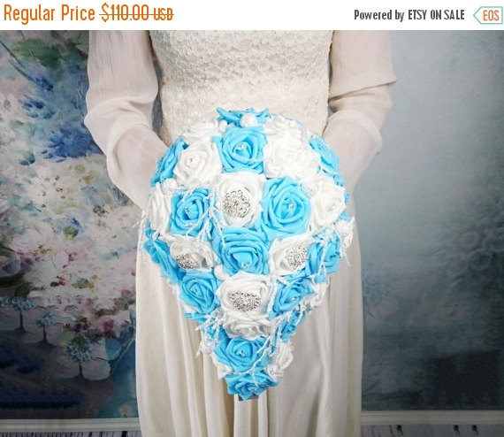 Wedding - READY to SHIP White and blue foam roses sparkle glitter brooches silver frozen flowers wedding BOUQUET satin winter wonderland christmas