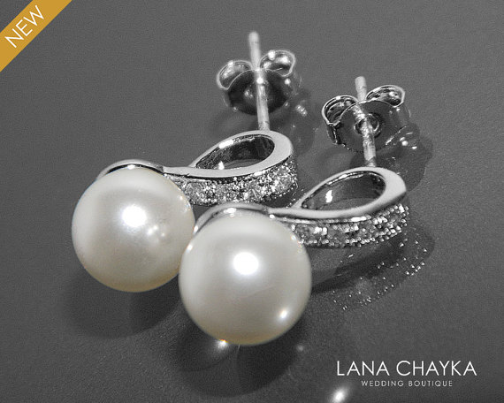 Mariage - White Pearl Bridal Earrings Small Pearl CZ Earring Studs Swarovski 8mm Pearl Sterling Silver Posts Earrings Wedding Jewelry Bridal Jewelry