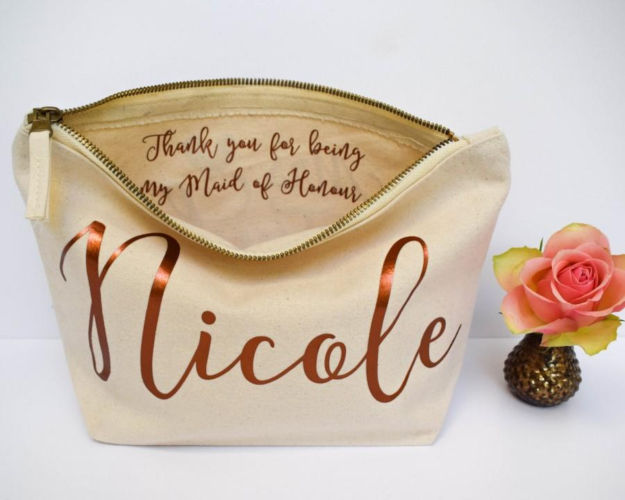 Wedding Thank You Gift Personalised Bridesmaid Gift Make Up Bag