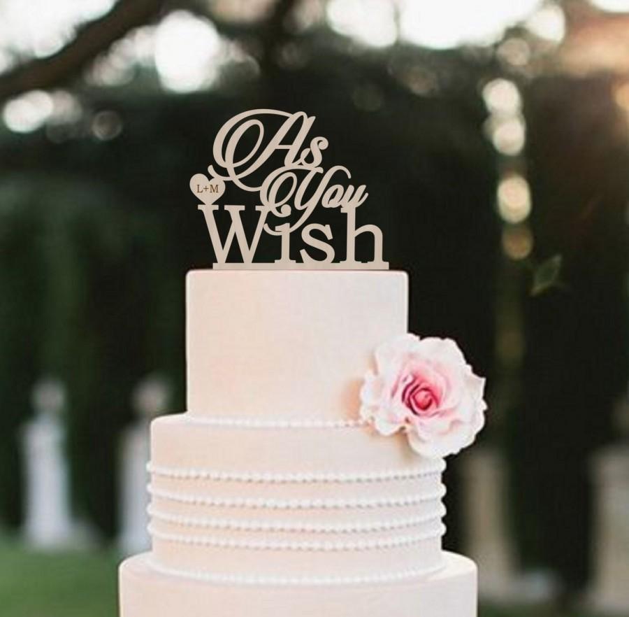 Свадьба - As You Wish Cake Topper Princess Bride Inspired Wedding Cake Topper Rustic   Cake Topper  Personalized  Wood Cake Topper