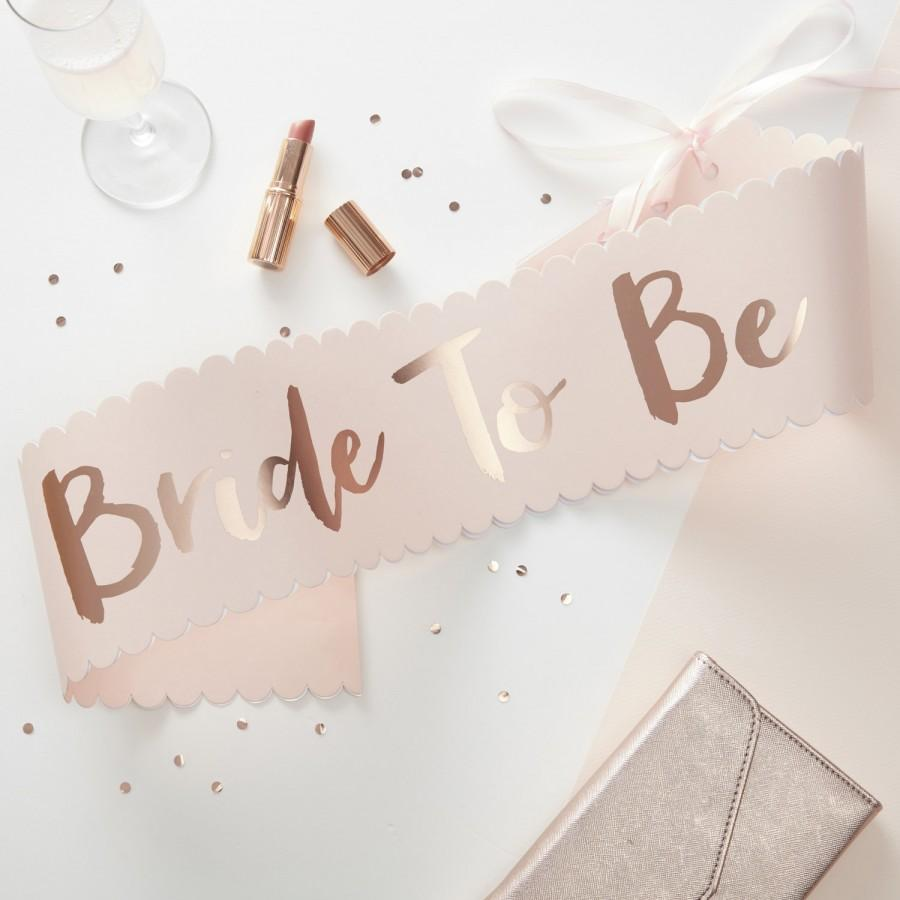 Свадьба - Bride to Be Pink Rose Gold Sash Perfect for Hen Party