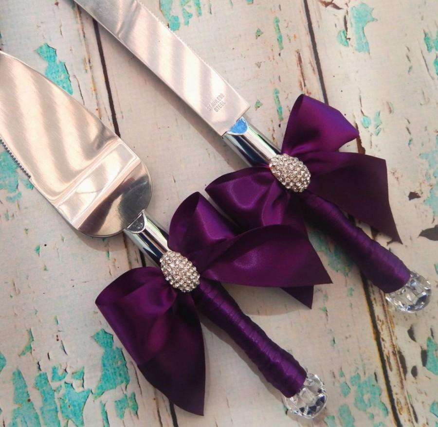 Свадьба - Your Color , Wedding Cake Serving Set , Plum Wedding knife set ,Wedding Cake Knife Set ,Cake Cutting Set , Set for Weddings