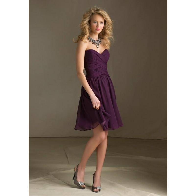 Wedding - Fetching A-line Sweetheart Sleeveless Ruffle Knee-length Chiffon Short Bridesmaid Wedding Gown Popular - dressosity.com
