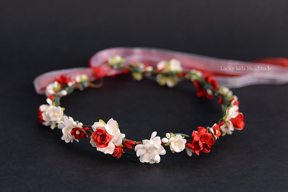 Wedding - Red & White Flower Crown - Floral crown - Flower girl halo - Wedding hair wreath - Fall Flower crown - Photo prop - Hair accessories - Halo