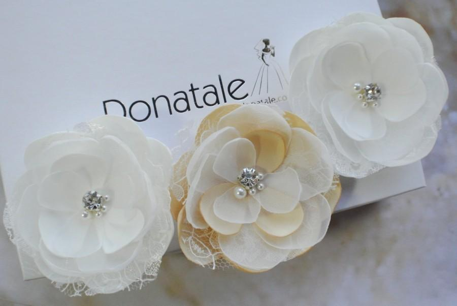 زفاف - Wedding hair accessories Wedding hair piece Wedding hair flower Wedding hair pins Wedding hair clip Floral Rustic  Ivory Champagne -MARZIA