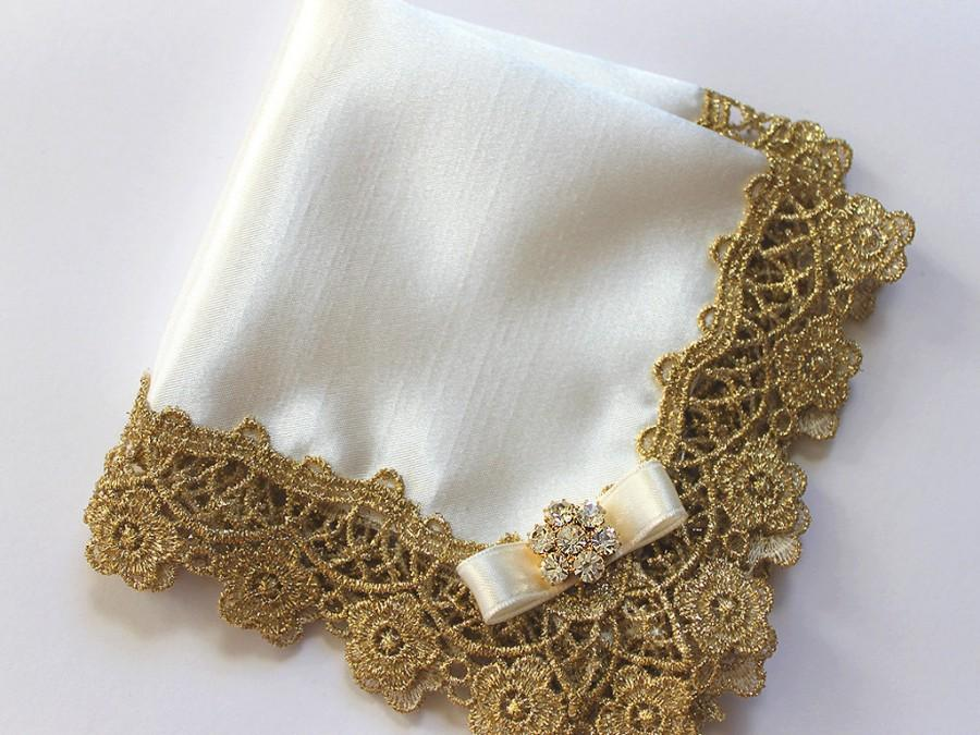 bride wedding hanky mother of the bride handkerchief mother of groom gift lace ivory handkerchief bridal shower gift for mom gold wedding