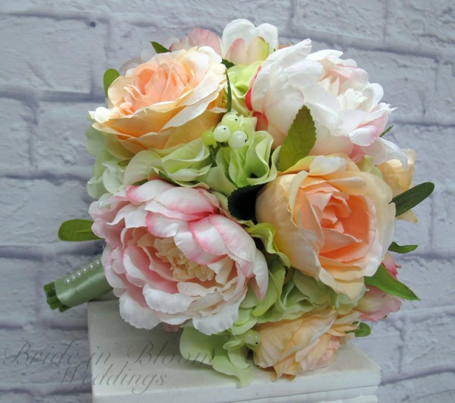 Mariage - Wedding bouquet, Peach and pink peony bouquet - Silk bridal bouquet