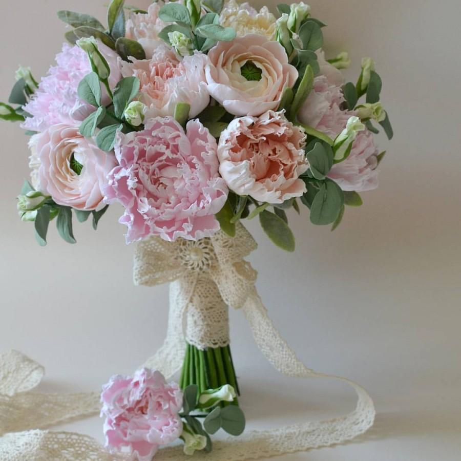 Свадьба - Clay flowers bouquet Bridal bouquet Clay flowers Pink peonies Ranunkulyus  flowers bouquet Hand Alternative bouquet keepsake bouquet clay