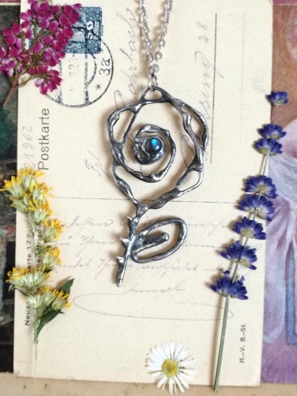 Wedding - Labradorite necklace, ROSE Necklace, Victorian jewelry art deco jewelry,Rose jewelry art nouveau neo victorian necklace gothic,boho chic