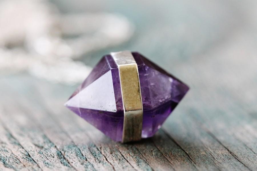 Wedding - Banded Amethyst Necklace - Fine Silver
