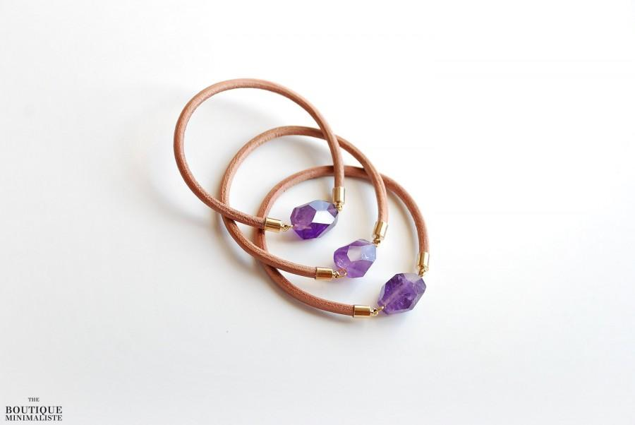 Wedding - Leather bangle - Amethyst stone bracelet