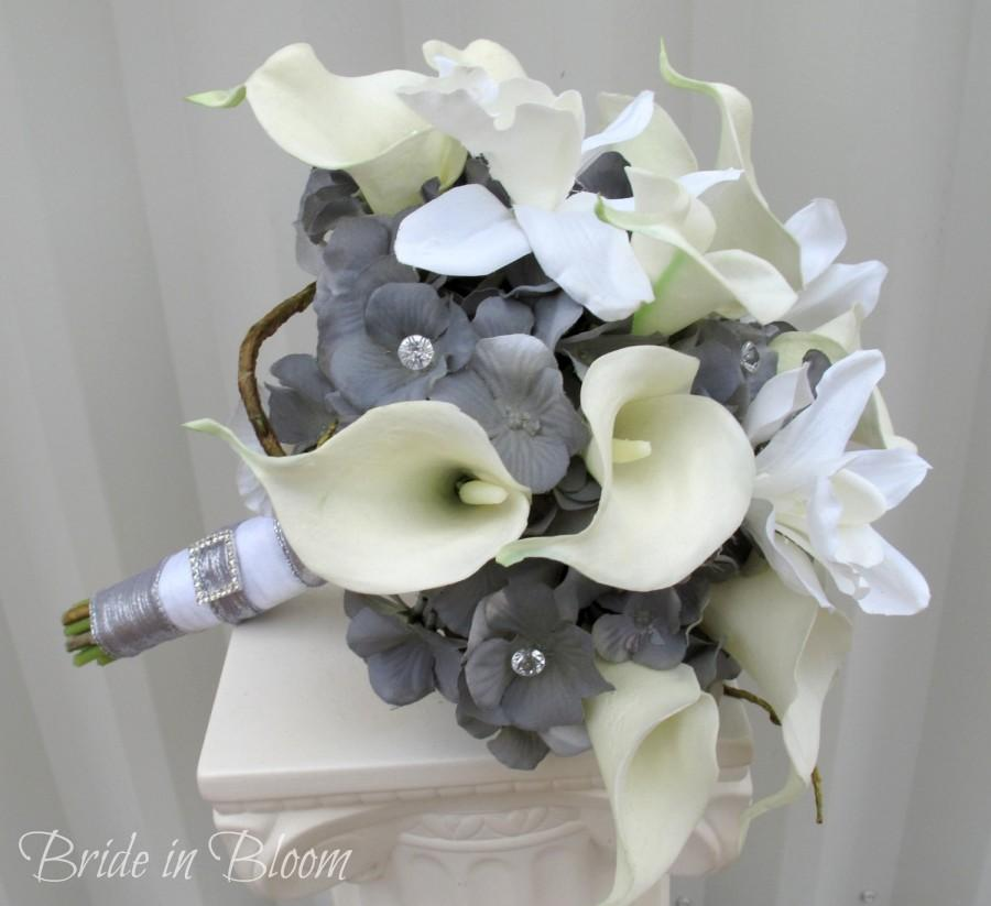 Свадьба - Wedding bouquet - Silver grey and white bouquet calla lily orchid wedding bouquet