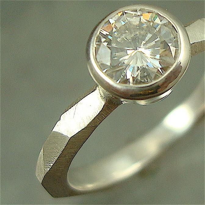 زفاف - Chiseled Engagement Ring w/ 6mm Moissanite - sterling