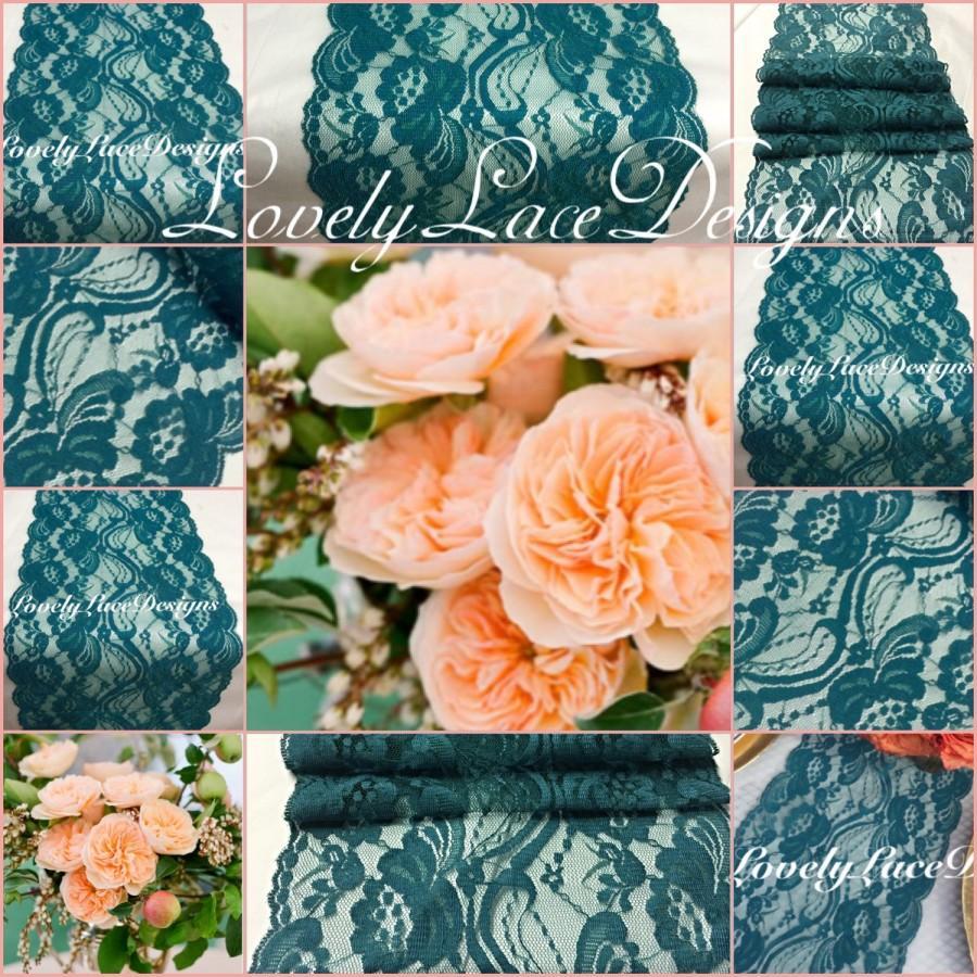"Свадьба - Teal/Green Lace Table Runner/7"" wide x12ft-20ft long/Wedding Decor/PEACOCK weddings//Overlay/Teal Table Runner/reception decor ideas"