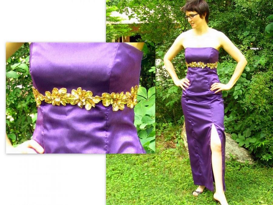 Свадьба - Purple Prom Party Dress, Strapless Formal Dress, Modern Size 6 Small