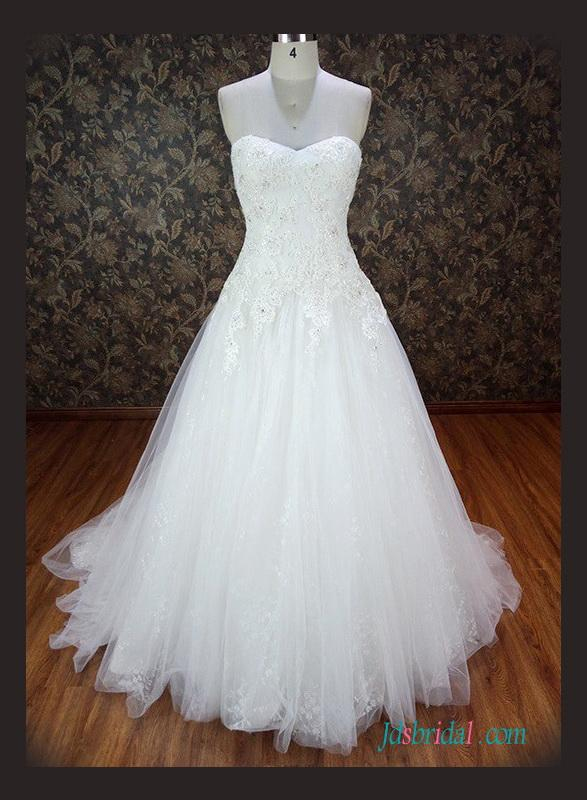 Mariage - Sweetheart neck beaded lace tulle ball gown wedding dress