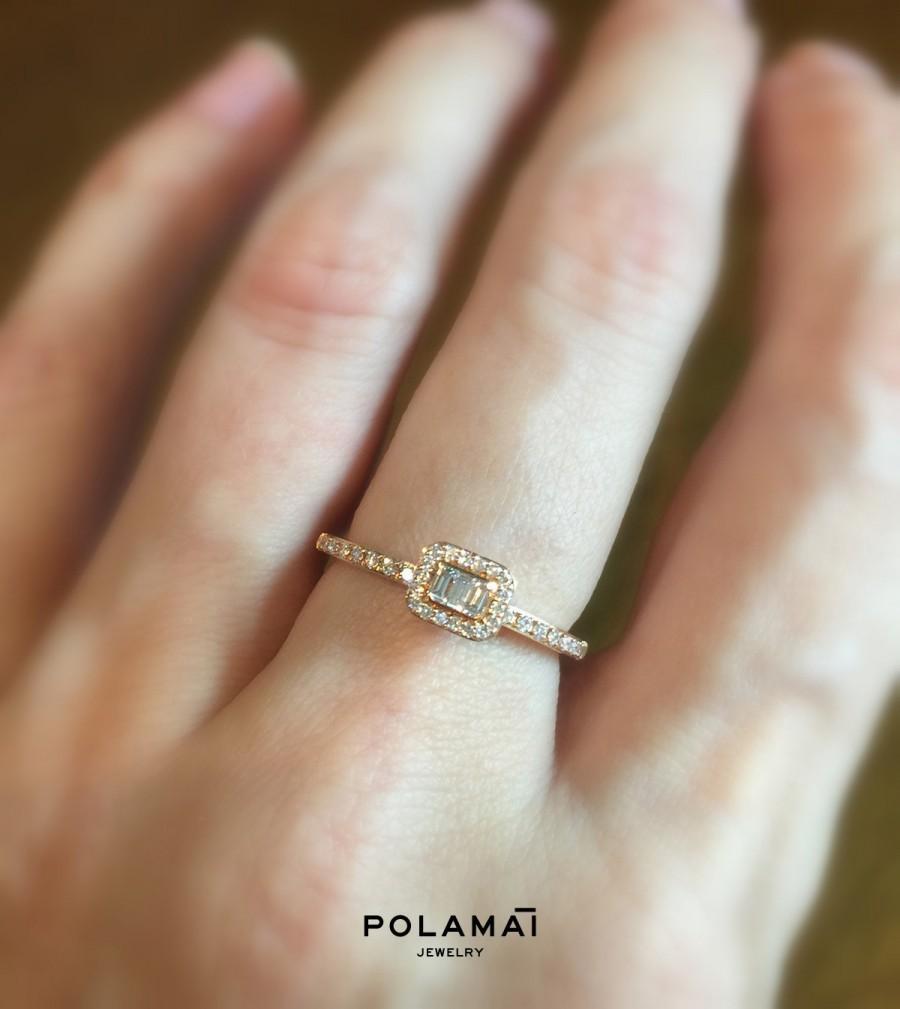 زفاف - 3 Diamond Baguette Ring 18k Gold . Engagement Stacking Solitaire Ring  . Halo . Solid Yellow White Rose Gold . Polamai