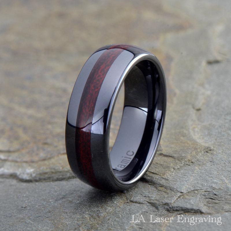 Mariage - Ceramic Wedding Band, Mens Ring, Mens Wedding Bands, Burgundy Wood laminate inlay, 8mm, Engraving, Mans, Anniversary, His, Set, Size, Women
