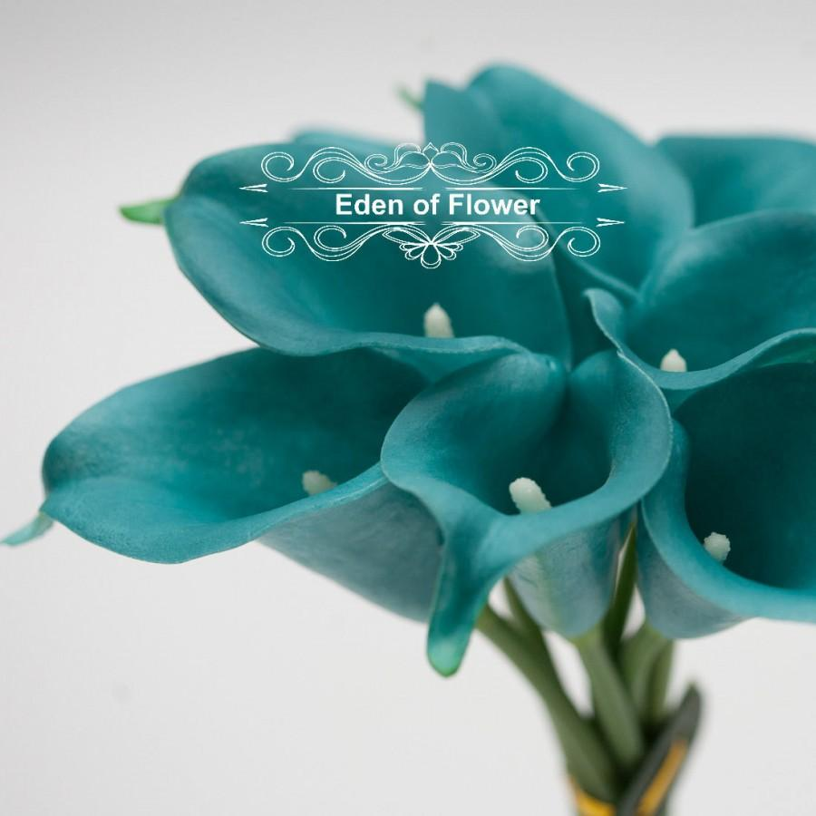 Mariage - Real Touch Oasis Teal Calla Lilies for Bridal Bouquets, Wedding Centerpieces, Home Decorations, Boutonnieres, Corsage