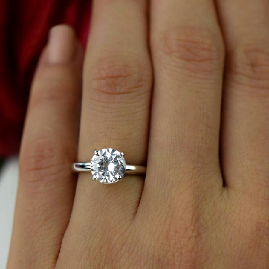 Mariage - 2 ct 14k White Gold Ring, 4 Prong Solitaire Ring, Engagement Ring, Man Made Diamond Simulant, Wedding Ring, Bridal Ring, Promise Ring