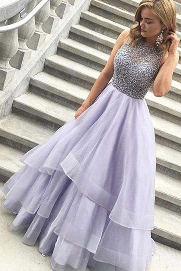 Hochzeit - A-line Jewel Floor Length Tiered Lavender Prom Dress with Beading