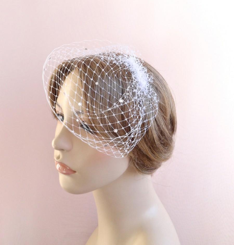زفاف - Mini birdcage veil, Swarovski crystals veil, small bridal veil, mini wedding veil, white birdcage, ivory birdcage, pink birdcage  Style 603