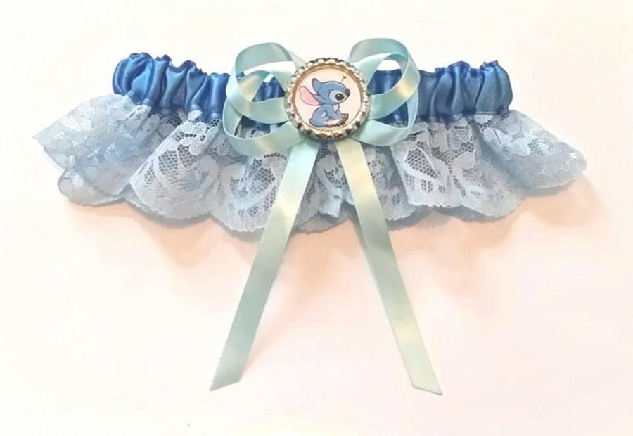 Свадьба - Disney Stitch Satin/Satin and Lace Garter/Garter set- Your choice of embellishment.