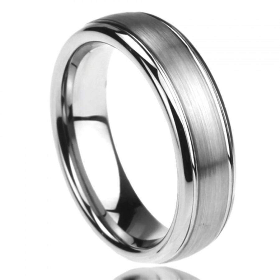 Свадьба - Personalized Stainless Steel Wedding Band Ring 6MM Brushed Center Domed Classy  Free Engraving In Side Of The Ring - ZSTR121