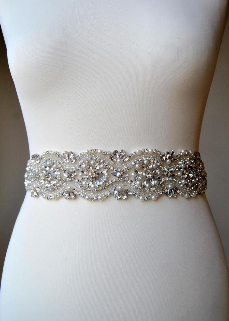 Wedding - Bridal Sash, Bridal belt, Wedding Sash, Wedding Belt, Bridesmaids Belt Sash, Rhinestone Wedding Gown Sash Belt, All around Belt-CHLOE