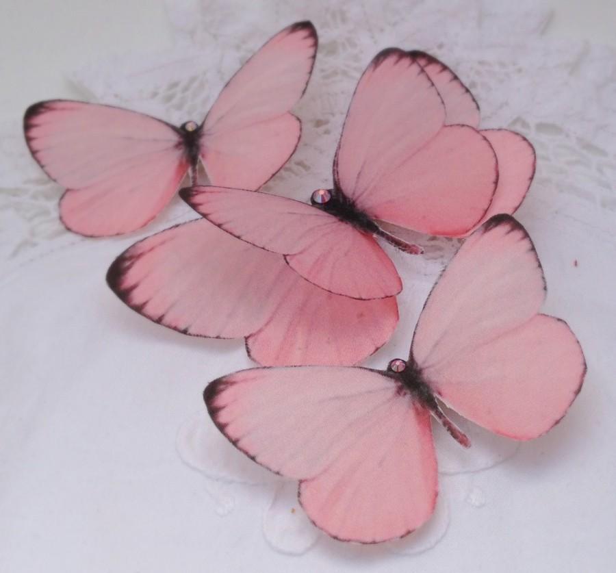 زفاف - Hand Cut silk butterfly hair clips - Rosy Pinks Trio