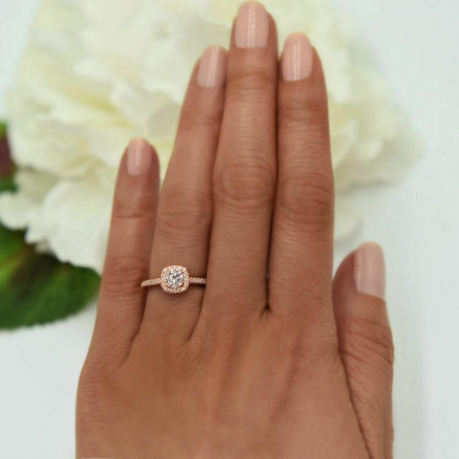 Wedding - 3/4 ctw Classic Square Halo Engagement Ring, Man Made Diamond Simulant, Half Eternity Ring, Promise Ring, Sterling Silver, Rose Gold Plated