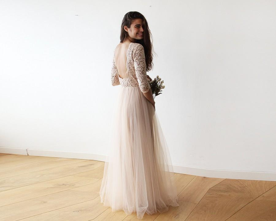 Mariage - Blush pink tulle and lace open back gown, Lace backless and tulle gown 1122