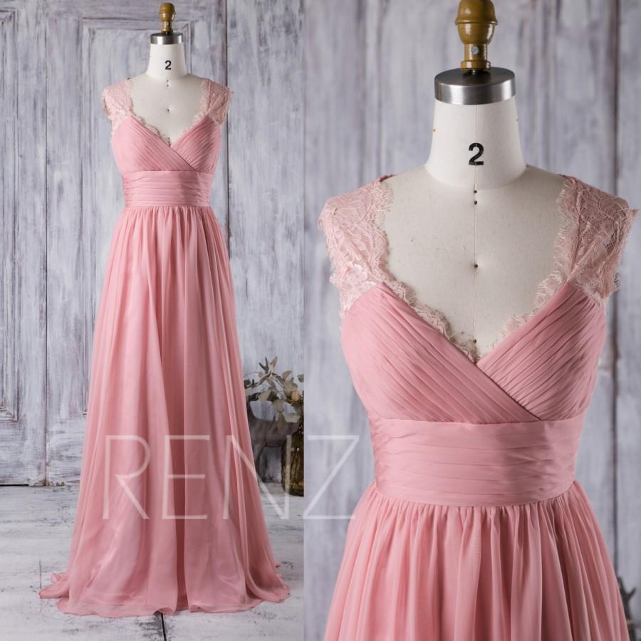 2016 Mauve V Neck Lace Bridesmaid Dress, A Line Chiffon Wedding ...