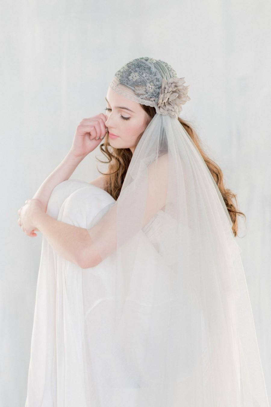 Mariage - Grey Juliet Veil, Lace Wedding Veil, Embroidered Veil, Gray Veil, Floral Veil, Lace Veil, Lace Juliet Veil, Beaded Wedding Veil, LUCIENNE