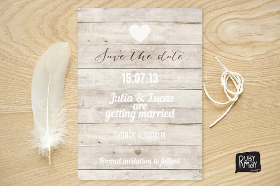 Mariage - Nautical Save the Date, Beach Wedding, Rustic Save the Date - digital or printed invite, wooden save the date, typography, white calligraphy