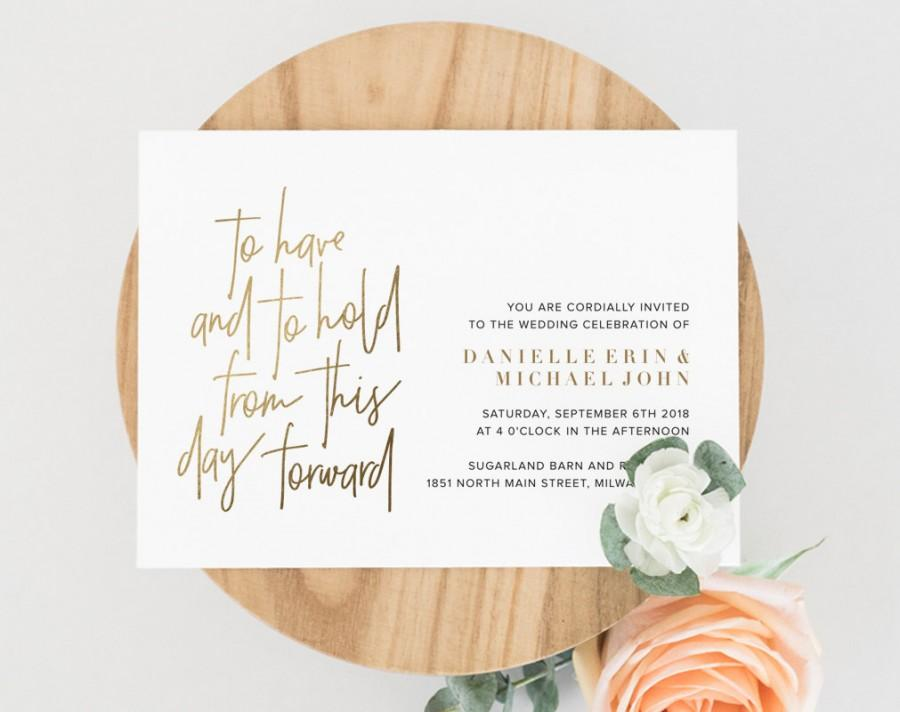 Gold Wedding Invitation Template, To Have And To Hold, Wedding ...