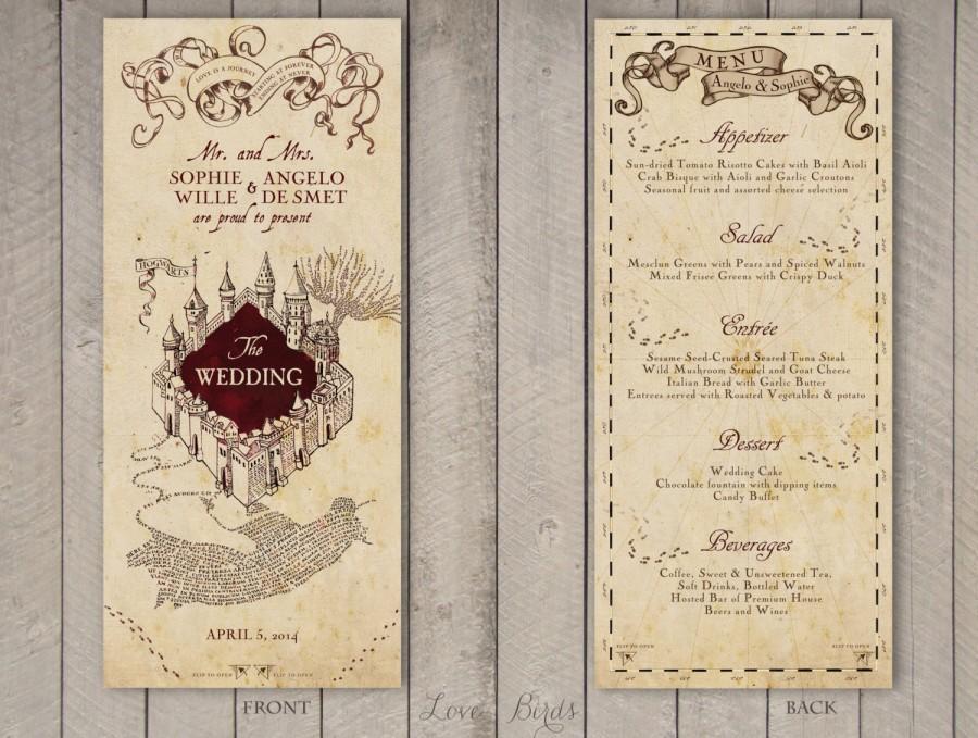 Wedding - Wedding Menu Harry Potter Marauder's Map - Digital file