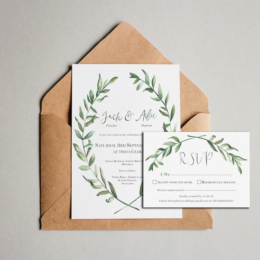 Olive leaf wedding invitations