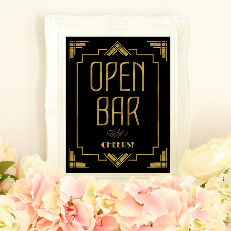 Open Bar Sign Wedding Printables Great Gatsby Decorations Art