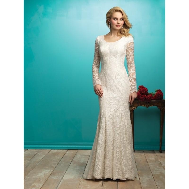 cheaper new product sneakers Allure Modest M545 Long Sleeve Sheath Wedding Dress - Crazy ...
