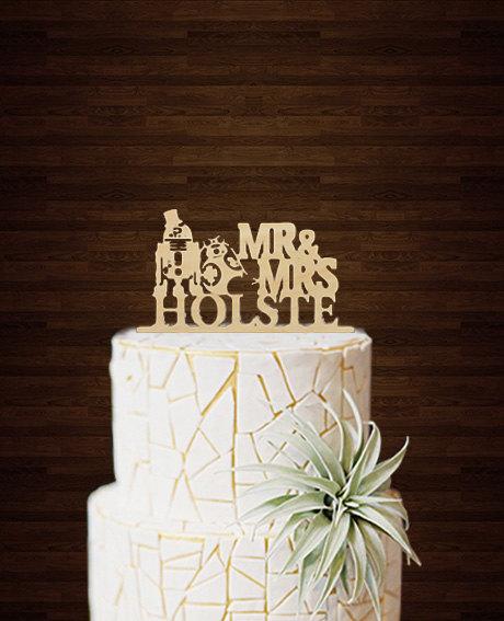 Mariage - Star Wars Cake Topper-R2D2 & Bb8 Cake Topper-Wedding Cake Topper-Acrylic Custom Cake Topper-Star Wars Silhouette Topper-Love Cake Topper